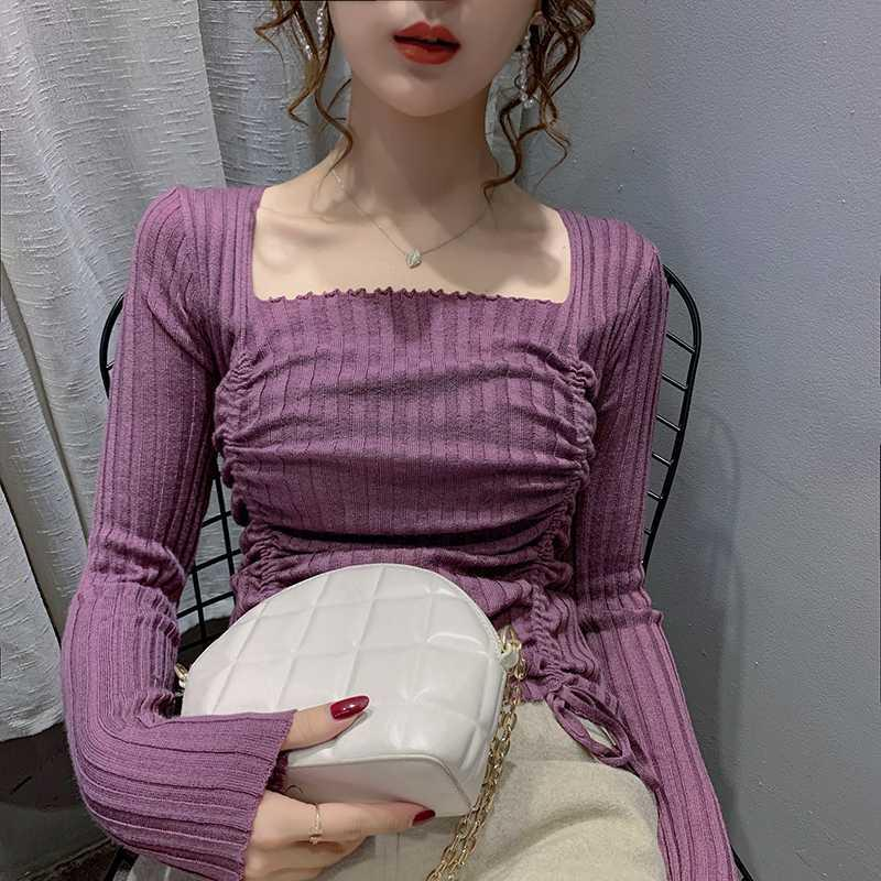 Nuevo otoño y el invierno de 2020, el cuello corte ajustado coreano cuadrado, jersey de punto, cordón de moda superior del color sólido de las mujeres