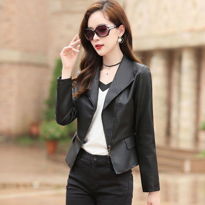 1pcs Women's Plus size short jacket coats 2020 Autumn faux fur PU Leather Irregular Small Jacket ladies Skinny locomotive coats