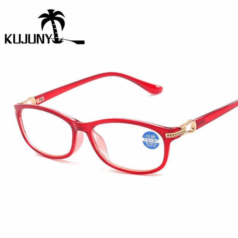KUJUNY المرأة مكافحة الزرقاء السيدات الضوء نظارات القراءة الأنيق كتلة الضوء الأزرق قصو البصر نظارات سوداء نظارات