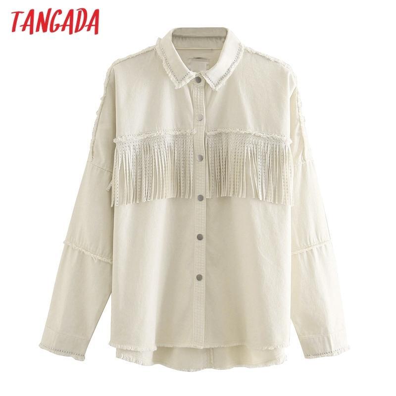 Tangada 여성 베이지 색면 술 코트 자켓 느슨한 긴 가을 겨울 숙녀 우아한 코트 200,917 슬리브