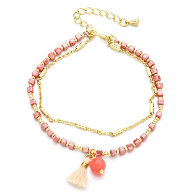 Bohemia múltiples capas de la borla de la semilla de las pulseras del encanto de los granos de la cadena ajustable cristalino de la perla colgante de joyería de la aleación pulsera de las mujeres del regalo