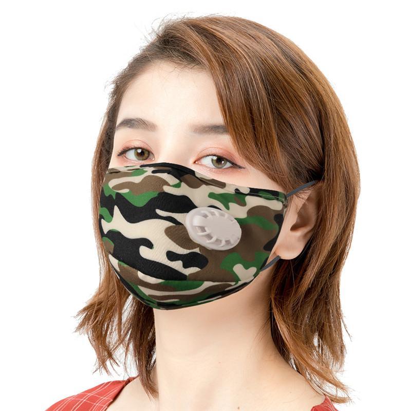 Moda Camouflage maschera di protezione antipolvere a prova di Haze traspirante respirazione valvola della mascherina protettiva uomini e donne di sport esterni Ciclismo maschere A14
