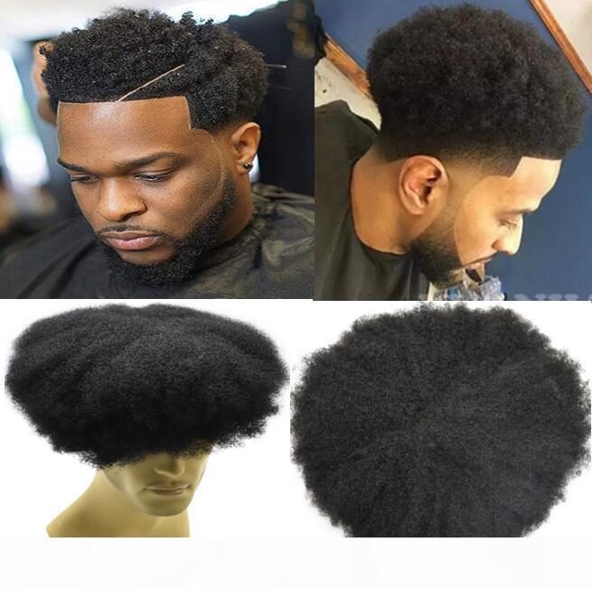 Celebrity Toupet Hommes postiches Afro Curl Full Lace Toupet Jet d'encre Couleur Noir # 1 Indien Remy cheveux humains hommes remplacement de cheveux pour hommes noirs