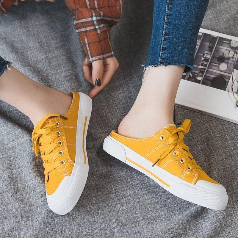 Женская обувь Холст Flat кроссовки 2019 Летняя мода Сплошной цвет Женский Половина обувь белый / черный кроссовки женщина обуви Sneaker N7E0 #
