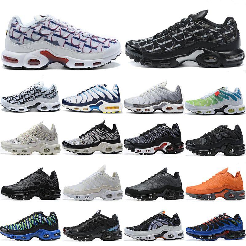 2021 Yeni Erkek TN Artı Koşu Ayakkabıları Üçlü Siyah Beyaz Gökkuşağı Hiper Mavi Supernova Brushstroke Camo Erkekler Eğitmenler Açık Spor Sneakers