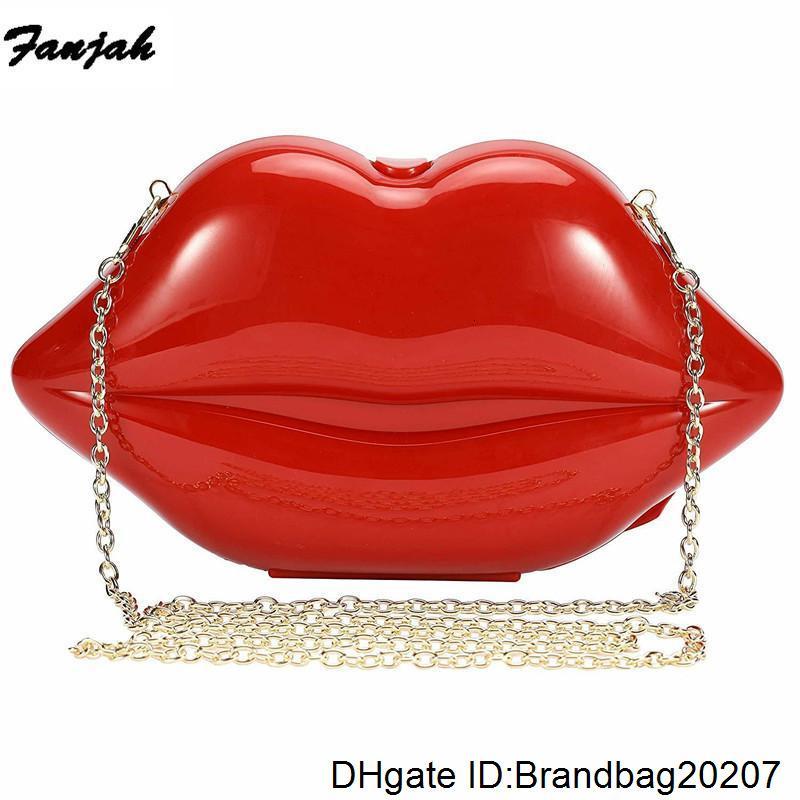 Mädchen-Frauen-Abend-Beutel-Schulter-Beutel-Kupplungs-Acryl-Hochzeit-Beutel Crossbody Geldbeutel-Handtasche (rot) Lady Box Kupplungen Lippen-förmige
