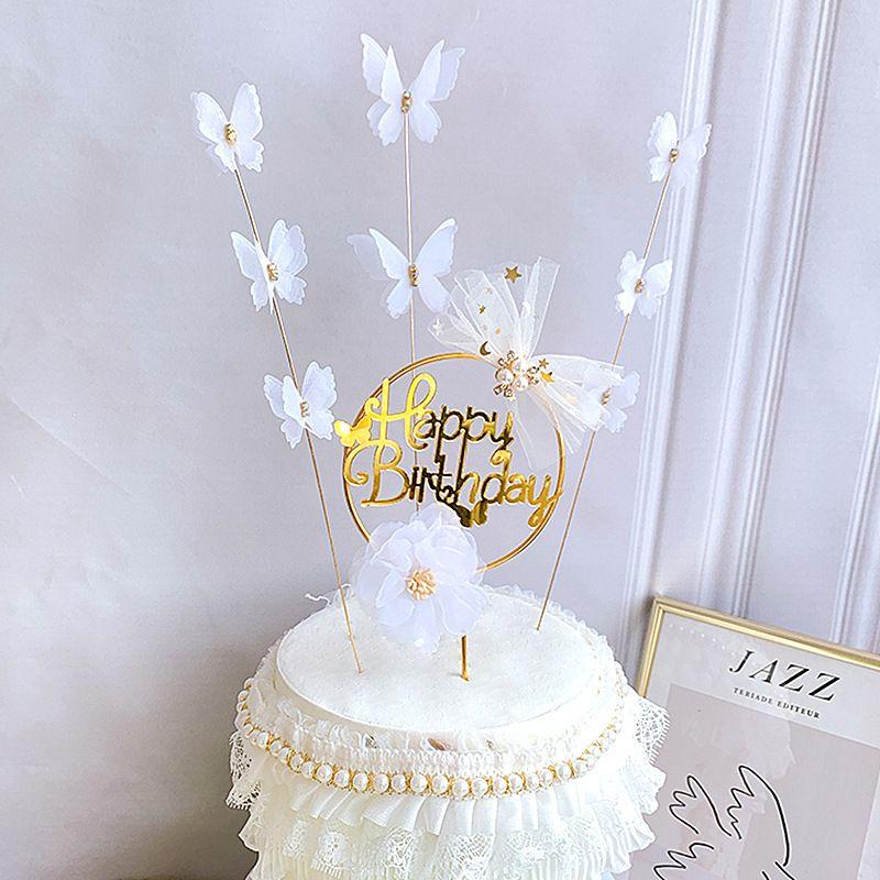 Cake Decoration diamante acrilico Lace farfalla bianca Happy Birthday Letters Cake Toppers per Matrimonio Compleanno Baby Shower Decor