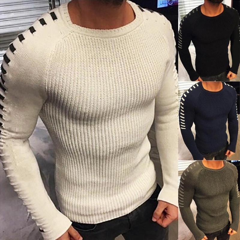 Мужская Тонкий Вязаные пуловеры Простые Мужчины Осень Зима Твердая Теплые цвета с длинным рукавом вязаный пуловер свитер
