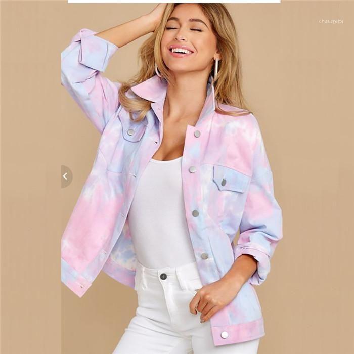 Tasarımcı ceketler Pembe Yaka Yaka Uzun Kollu Hırka Coats Moda İnce Sonbahar Kadın Dış Giyim Giyim Batik Bayan