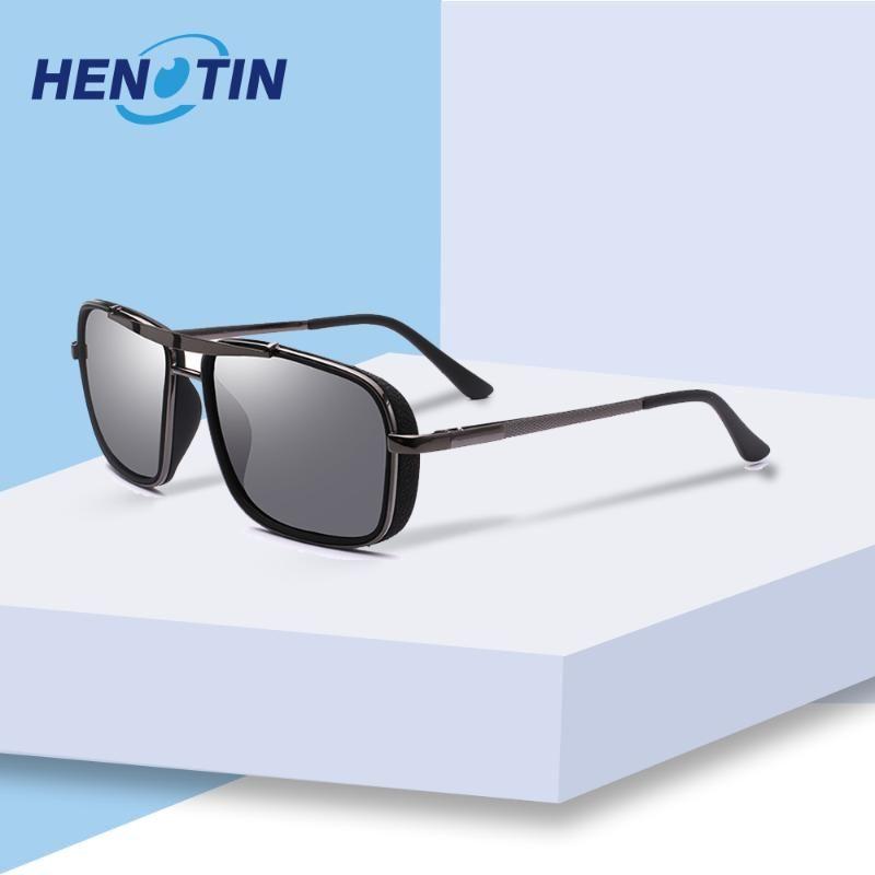 Henotin 2020 Acessórios Eyewear Unisex retro óculos polarizados Homens Mulheres Vintage Grey Black Sun Glasses por Homem / Mulher