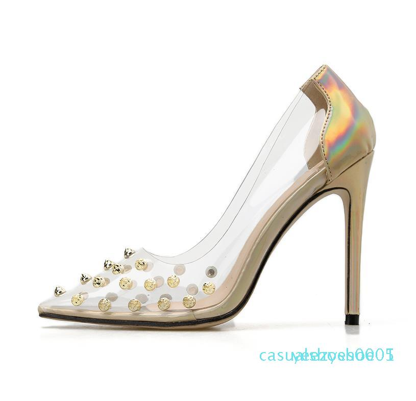 com o tamanho da caixa elegantes rebites picos claros transparentes sapatos de prata saltos de ouro da moda de luxo designer sapatos mulheres 35 a 41 l29 Y05