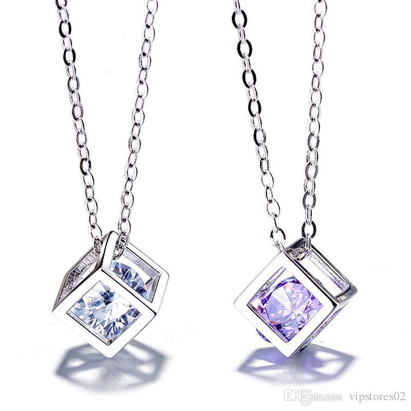 IN Modeschmuck lieben Rubiks Würfel Anhänger Magic Cube Anhänger Weiblichen Platz Lieber Fenster koreanische Halskette für Frauen-Geschenk