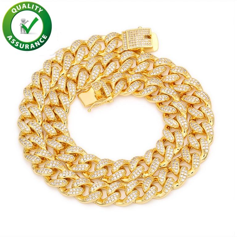Hip Hop Jewelry Diamond Cuban Link Chain Gold Bracelet Mens Necklace Iced Out Chains Luxury Designer Miami Curb Necklaces Rapper Fashion Accessories