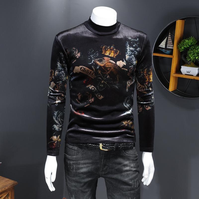Мужская с длинным рукавом Европы 2020 зима высокой шеи тонкая молодость плюс толстый бархат печать тенденции нижнего рубашку