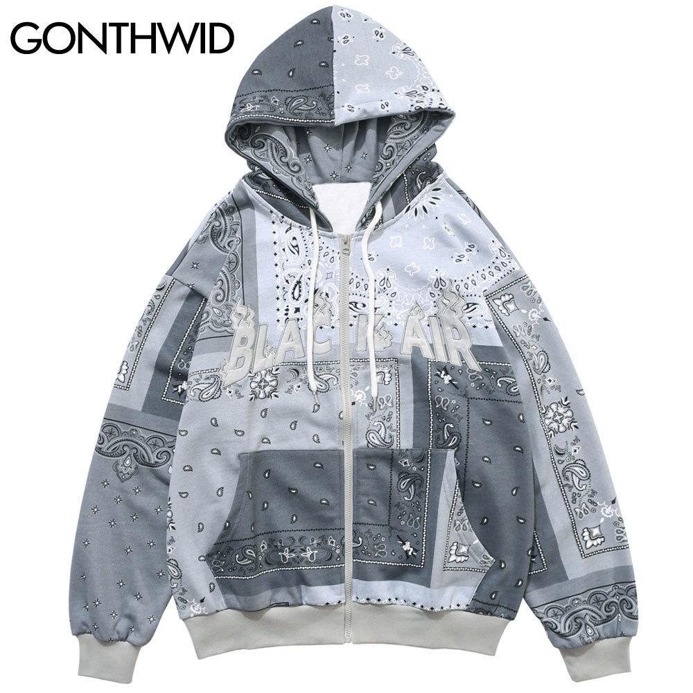 GONTHWID İşlemeli Bandana Patchwork Tam Kapşonlu Sweatshirt Ceket 2020 Harajuku Hip Hop Casual Kapüşonlular Coats Mens T200914 Tops Zip