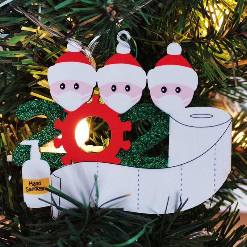 Madera de Navidad 2020 Fiesta Cumpleaños Adornos Decoración Festival de regalo personalizado familia de productos de 4 ornamento de pandemia