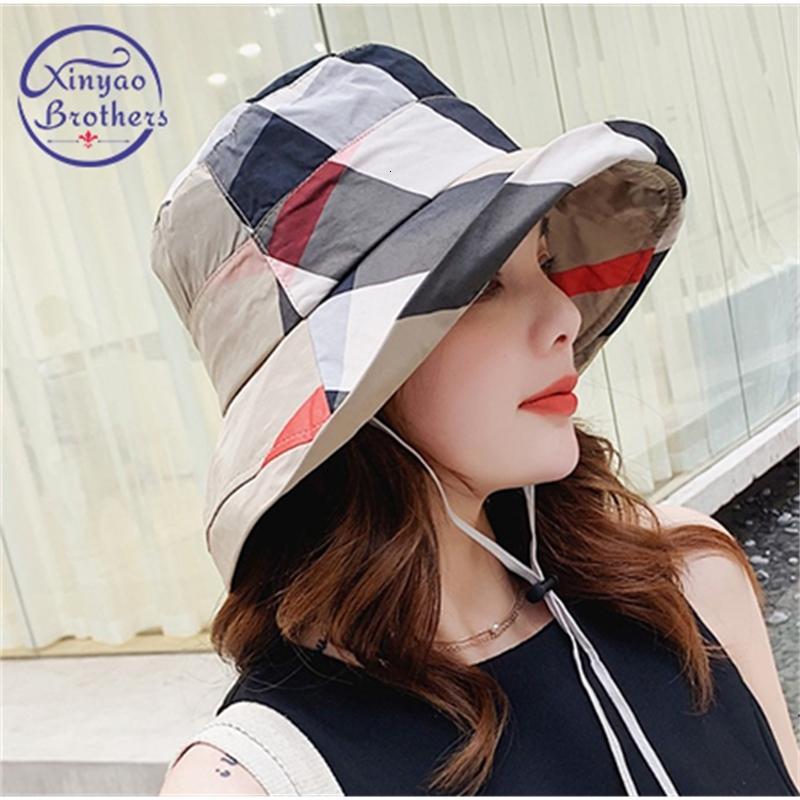 2020 Caps Nuovo caldo plaid moda del cappello della benna della spiaggia delle donne di Sun di estate Floppy Cappelli piatto pieghevole cotone
