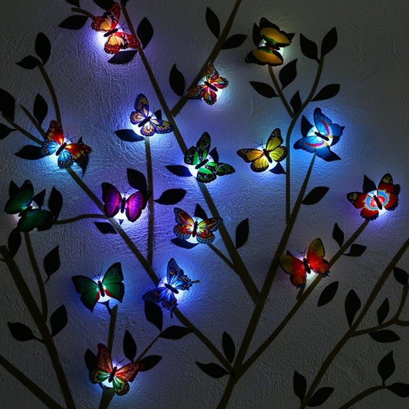2020 홈 침실 장식 무료 배송 다채로운 나비 LED 밤 빛 아름다운 벽 밤 빛 색상 랜덤