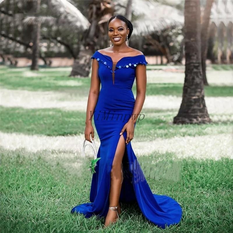 Azul Sereia Dama de Honra Vestidos Off Side Split Split Sweep Train Lantejoulas Jardim Convidado Casamento Vestidos de Festa Doméstica de Honra Vestido Barato