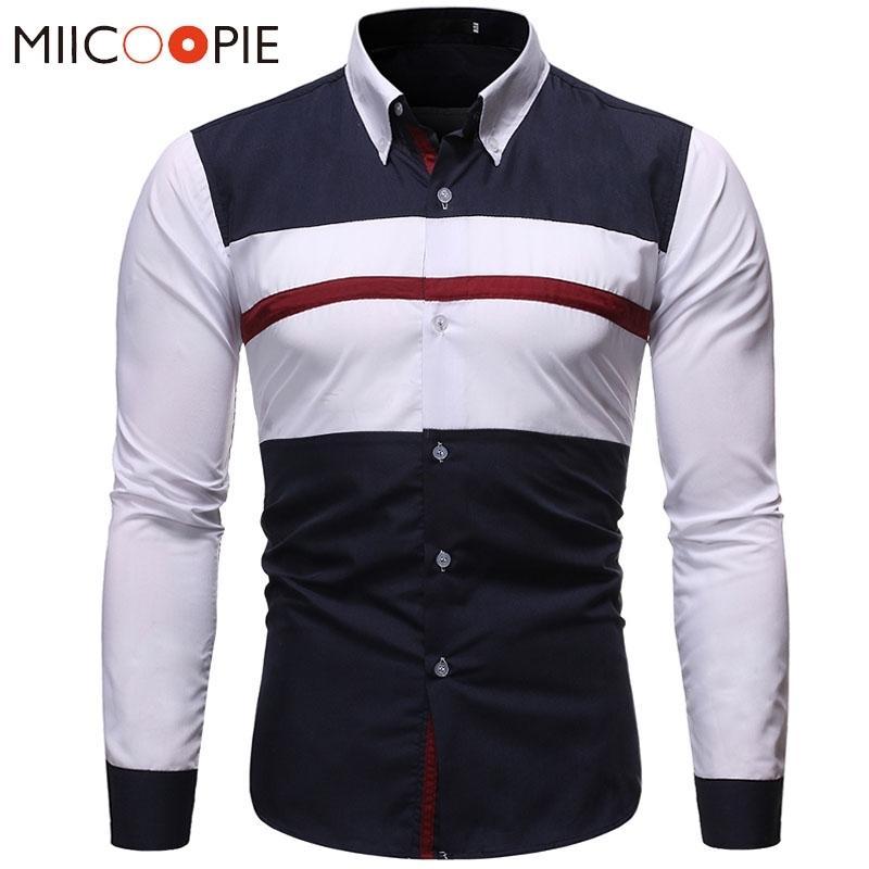 Chemises hommes Robe 2019 Marque Casual Brochage Couleur manches longues Slim Fit Chemises formelles d'affaires pour les hommes Camisa blanc social shirt T200914