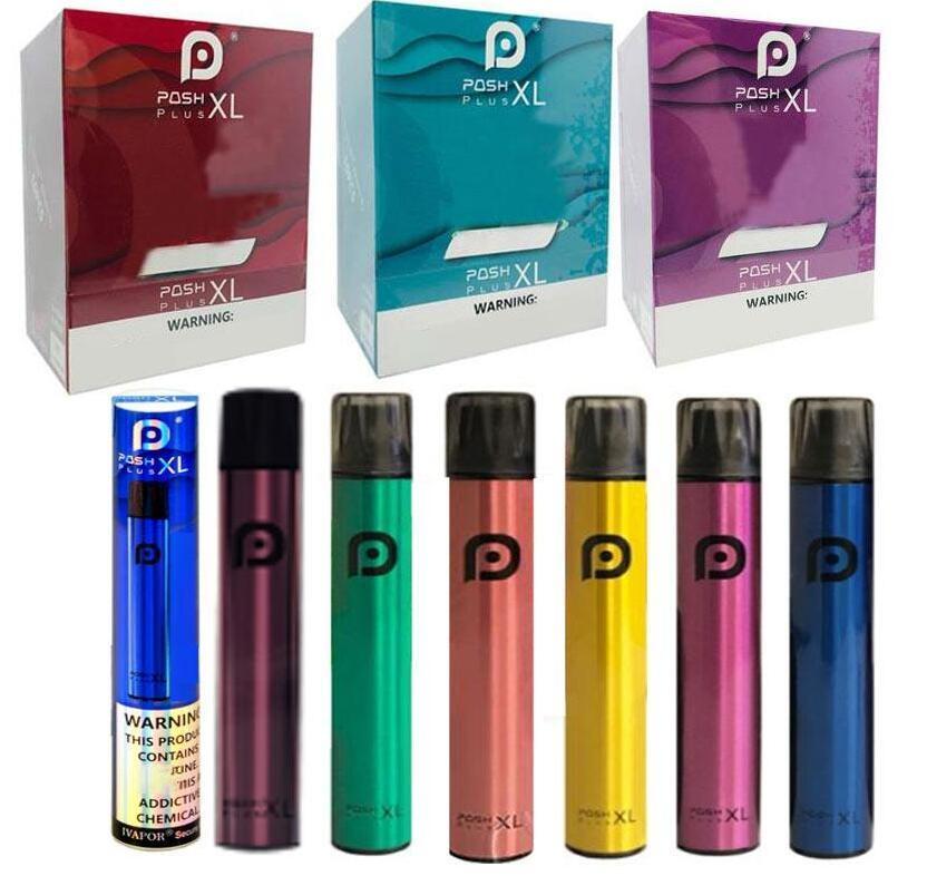 포쉬 플러스 XL 일회용 Vape 장치 펜 1500Puffs 650mAh 전원 배터리 포드 증기 일회용 전자 담배 6 ㎖ 사전 작성