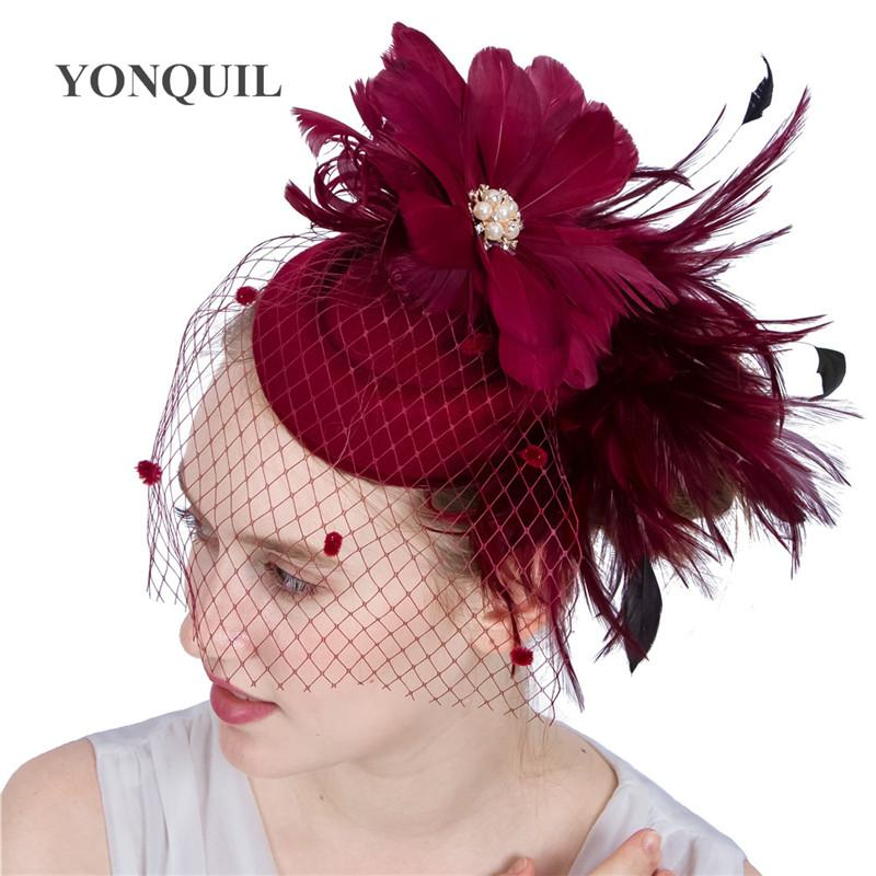 19 Colors available feather flower headband hair clips elegant women veil wedding church wool fascinator hat bridal hair accessories SYF154