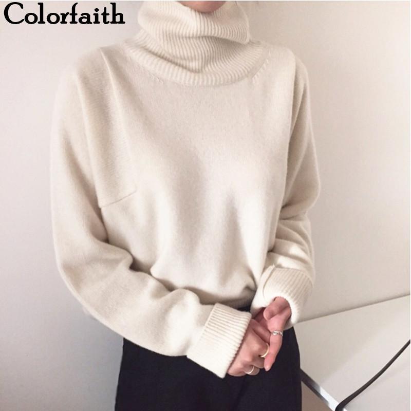 Colorfaith New 2020 Frauen-Herbst-Winter-koreanische Art Strick Rollkragen warmen Pullover Feste Minimalist elegante Strickjacke SW7276