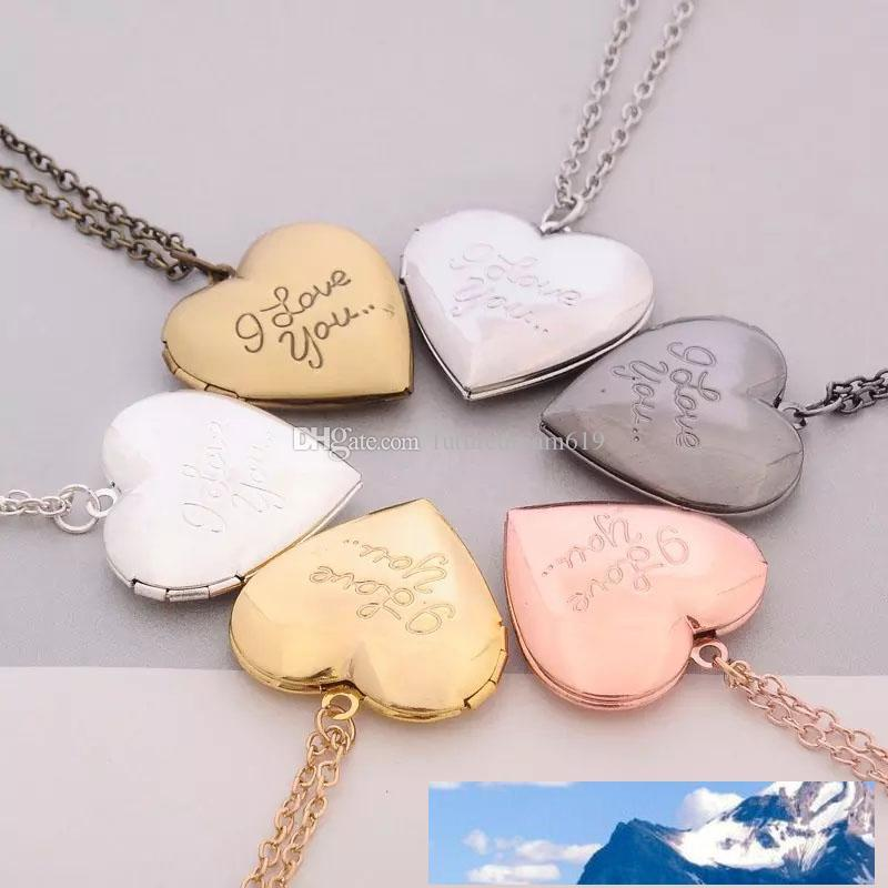 I Love You Heart Locket Necklaces Chain Secret Message Photo Box Pendants for Women Men Fashion Jewelry Free shipping