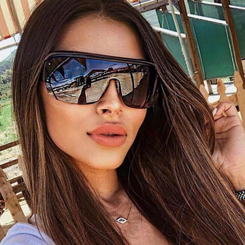 Oversized Piazza senza orlo degli occhiali da sole donne 2020 di moda del progettista di marca Flat Top Eyewear Feminino Big Shades per gli uomini