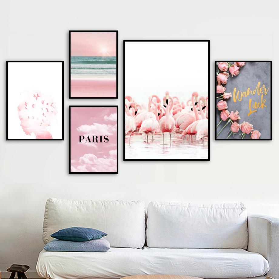 Rose Rose Flower Flamingo fille Sea Beach Wall Art Toile Peinture Affiches nordique et mur Prints photos pour Living Room Decor