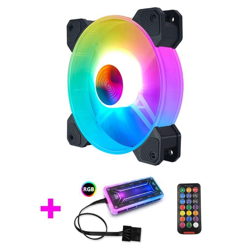 12см Desktop PC охлаждения контроллер вентилятора светодиодные лампы RGB корпус вентилятора Пульт дистанционного управления