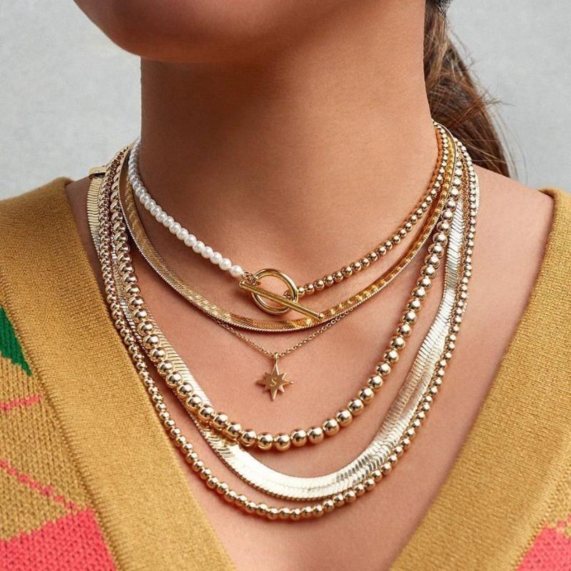Gargantilla de perlas de imitación de la moda con cuentas de oro de las mujeres punk de color Declaración collar de la joyería de la boda collar colgante Lasso