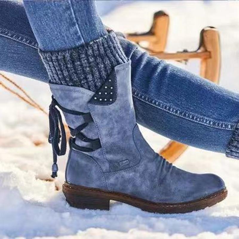 Mujeres WinterStiefel 2020 Winter Warm Mid-becerro Botas Vintage Lace Up Damas Botas de nieve Pedido Patchwork Cremallera Casual Zapatos Femeninos