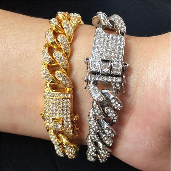 Para hombre Hip Hop joyería pulseras de oro heló hacia fuera la cadena del acoplamiento de oro rosa de plata Miami cubano pulsera de cadena