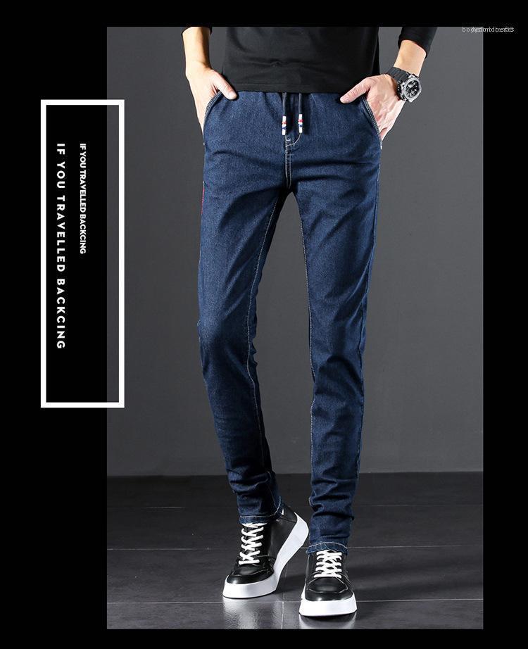 Waist Personality Mens Pants Plus Size Belt Dark Blue Mens Denim Pants Slim Pocket Retro Casual Jeans Middle