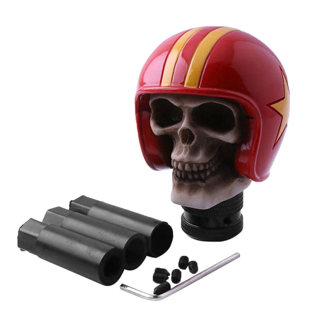 Cabeza del cráneo rojo en forma de manual del cambio de engranaje palillo de pomo de la palanca de marchas para Coches
