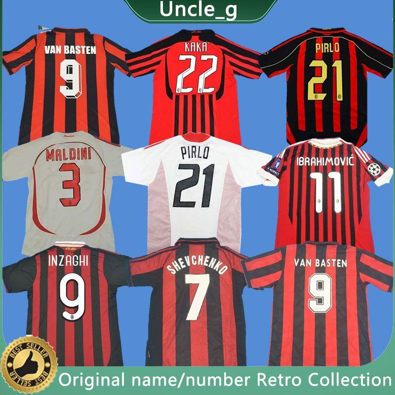 90 91 Retro Hemden 96 97 Gullit Fussball Jersey 01 02 03 Shevchenko Maldini van Basten Fußball Ronaldo Kaka Inzaghi 06 07 AC Milan 2009 Hemd
