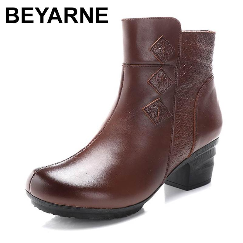 BEYARNE Women Genuine Leather Pattern Ankle Boots Shoes Cuff Thick Heel Women Boots Autumn Winter Fashion Shoes 2020 mujer