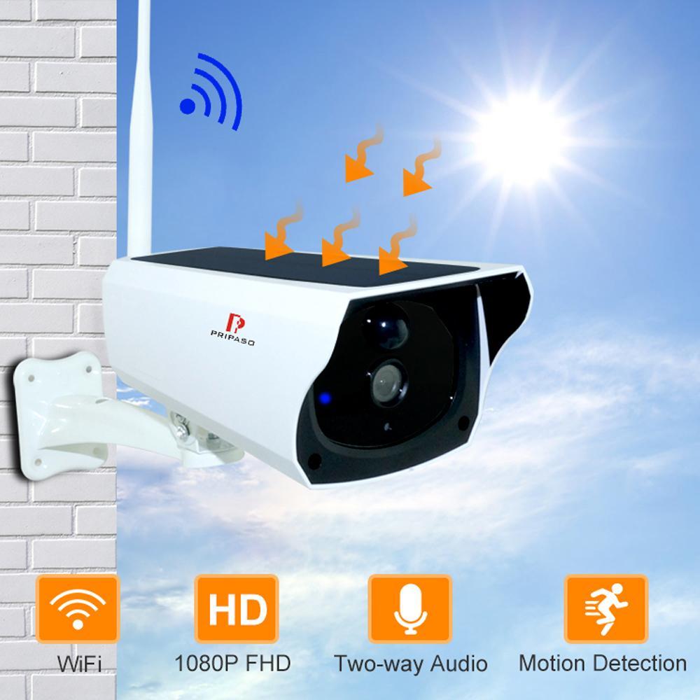 Wi Fi Camera الشمسية HD اللاسلكية IP67 ماء واي فاي الخارجية مراقبة الأمن CCTV IPCAMERA اتجاهين صوتي كام