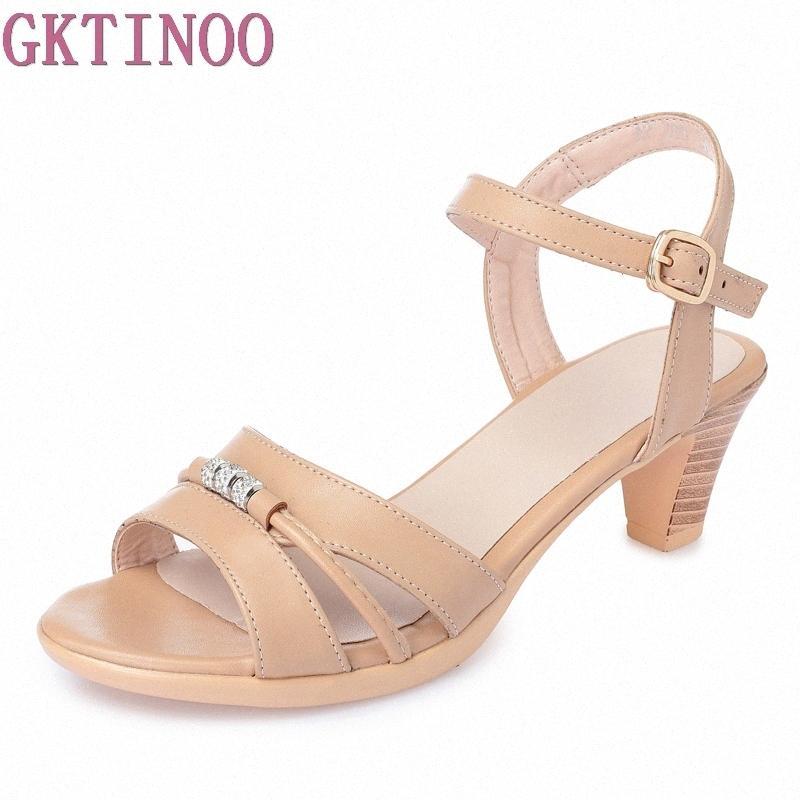 GKTINOO Peep Toe кожа лета женщин сандалии Толстые Высокие каблуки Женская обувь моды платформы сандалии для женщин Плюс Размер 35 43 Плоский Sh hpRM #