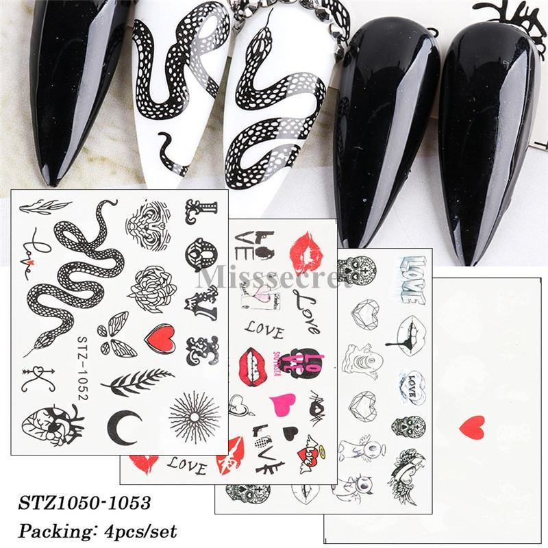 새로운 쉐이드 블랙 스네이크 네일 아트 스티커 섹시한 입술 물 전송 슬라이더 데칼 편지 꽃 장식 팁 네일 아트 장식 DIY