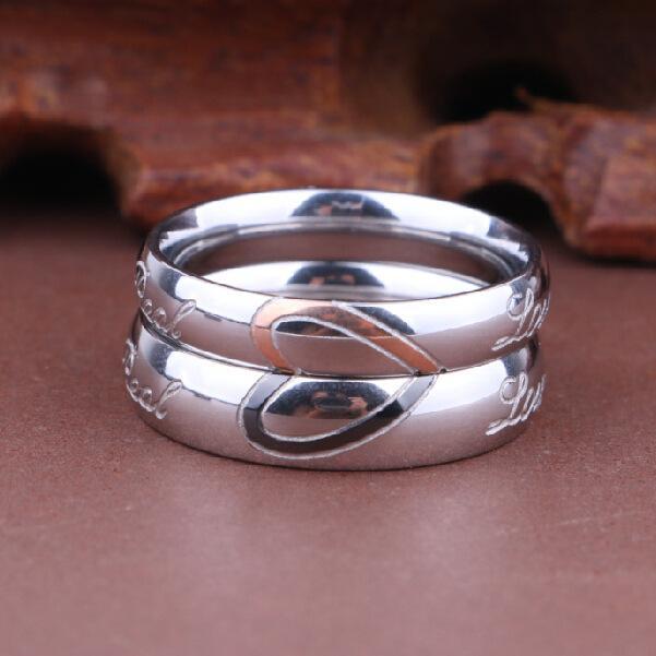 MF Schmuck Herz Ringe neue Art und Weise gemischten Stapel Schmuck aus Titan Stahl herzförmigen Liebhaber Großhandel Ring Männer und Frauen Ring
