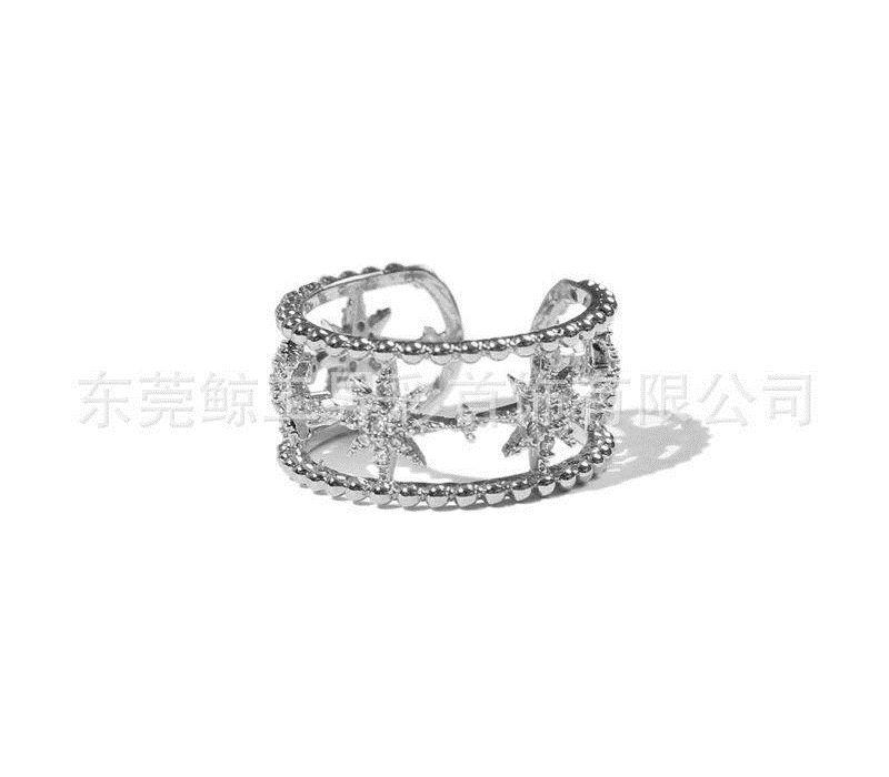 Personnalisé anneau couple ouvert plaqué or à quatre feuilles fleur 8 étoiles japonais et coréens de bijoux en diamants adjustable55 de simple zircons des femmes