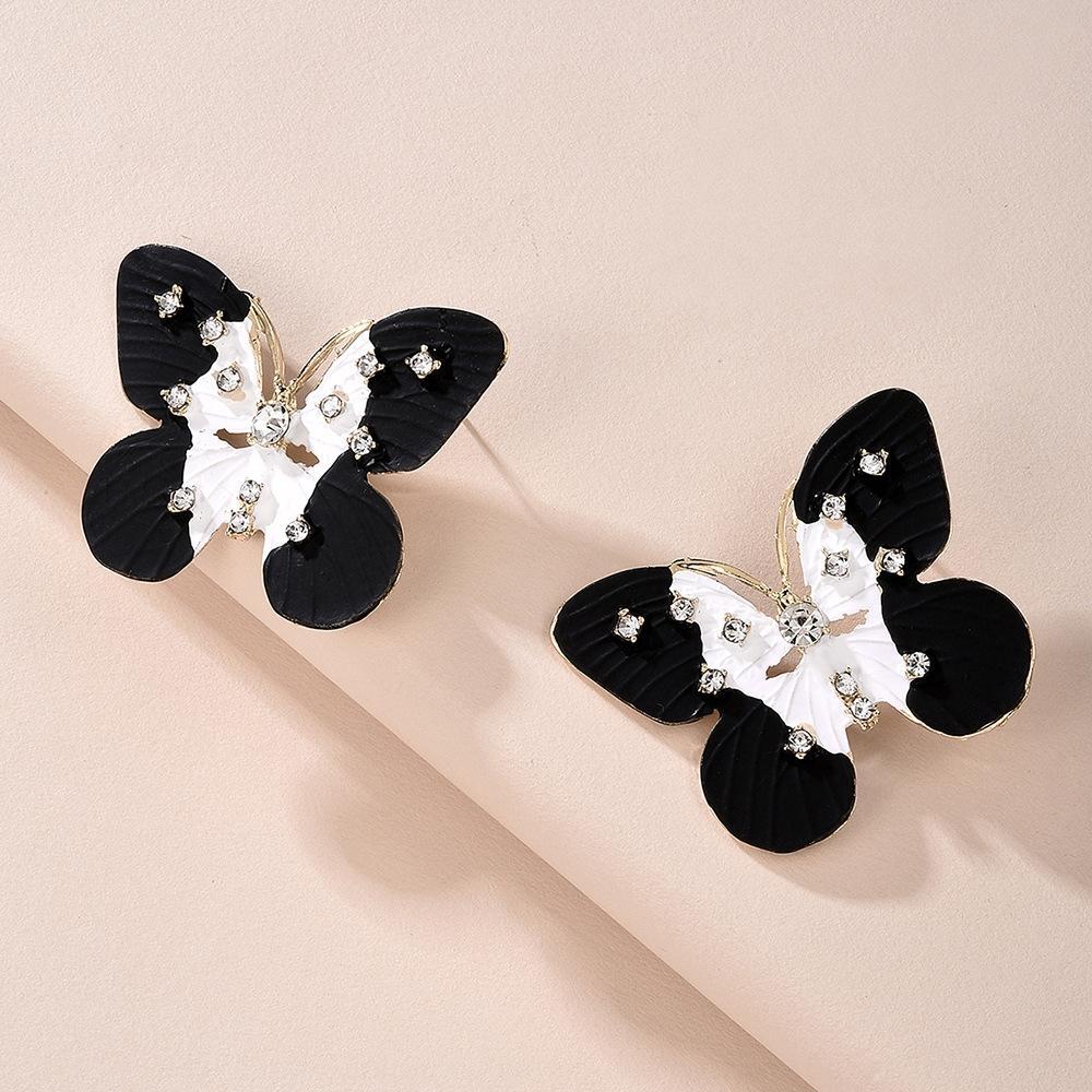 sf8sl E7690 kelebek elmas sıcak satan siyah ve beyaz elmas gömülü kelebek küpe w için alaşım zarif moda küpe tüm maç