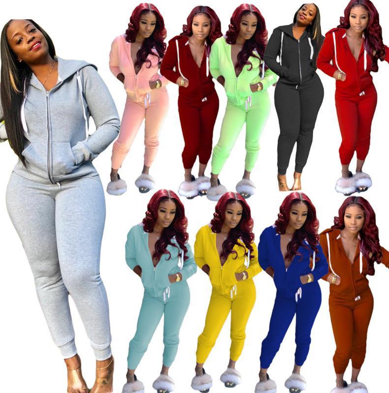 Kadınlar Eşofman İki adet Seti Uzun Kol Kapşonlu Fermuar Hırka Pantolon Kıyafetler Katı Renk Bayanlar Spor Sokak Giyim Sonbahar Yeni
