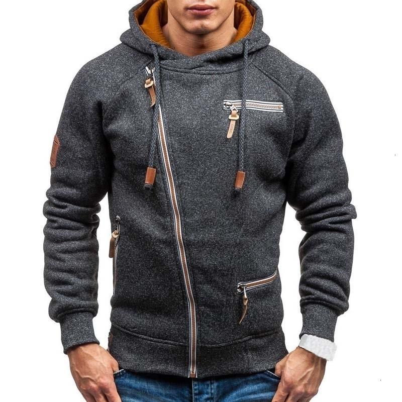 New Hoodie 2019 Spring Casual Solid Long Sleeve Mens Hoodies Sweatshirts Slim Zipper Hoody Sweatshirt Men Hooded Streetwear