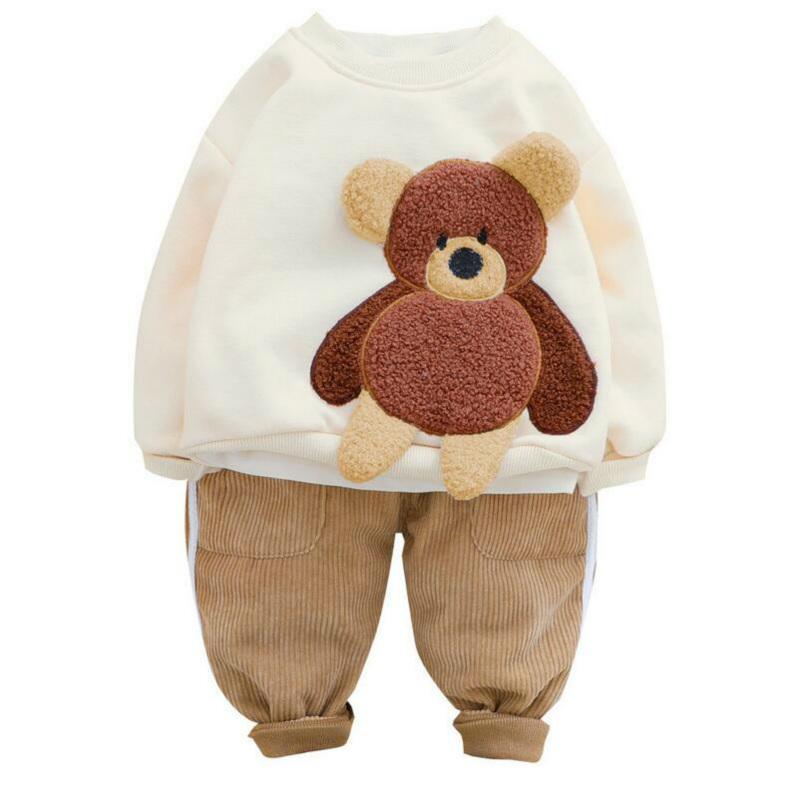 Fashion baby Clothing Sets Winter Toddler Infant Newborn Clothes Baby Girls Boys Clothing Sets Cartoon Bear Children Kids Plush Tops Pants