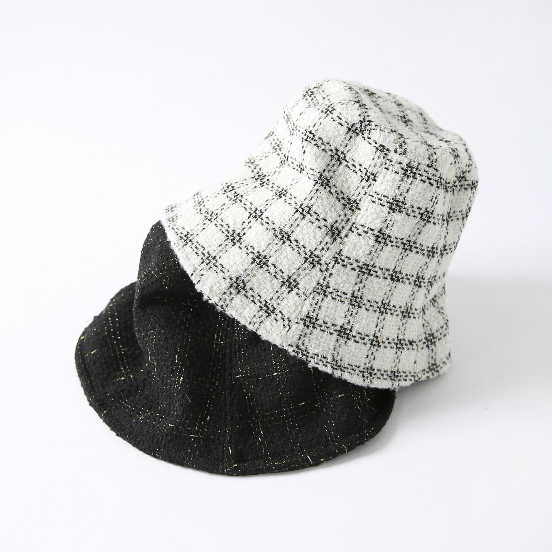 Panama Bucket Hat Frauen Herbst Winter Einfache Bucket Cap schwarz weiß Gitter Bob Hat Casual Chic Gorros Fischen-Fischer-Hut