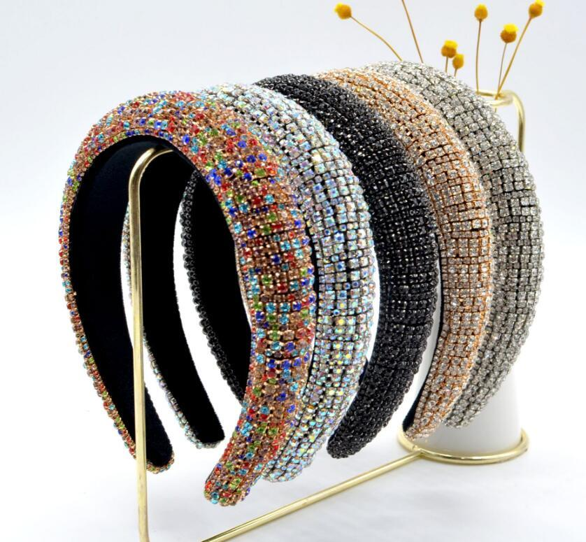 2020 Baroque Full Crystal Fandbands Headbands Bands per le donne Brides Brush Shipded Diamond Diamond Headband Hair Hoop Fashion Party Gioielli Accessori