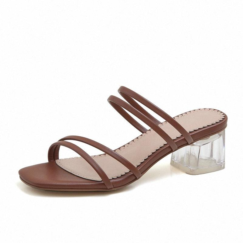 Abrir la vendimia del dedo del pie del talón Med deslizador de las mujeres playa del verano al aire libre zapatillas para mujeres abiertas del dedo del pie zapatos Zw1N #
